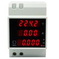 D52-2048  Din rail  LED Volt  current  Meter  Active Power Factor Energy  Ammeter Voltmeter AC 80-300V 0-100.0A 30%off