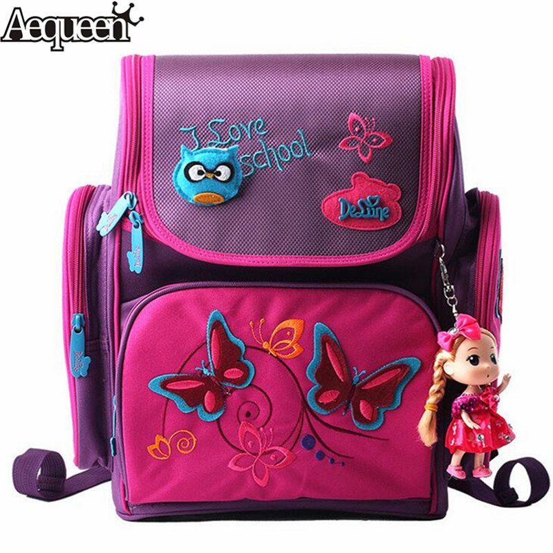 AEQUEEN Girls Pink Cartoon Backpack Cute Doll School Bags Safe Orthopedic School Backpacks For Kids Children