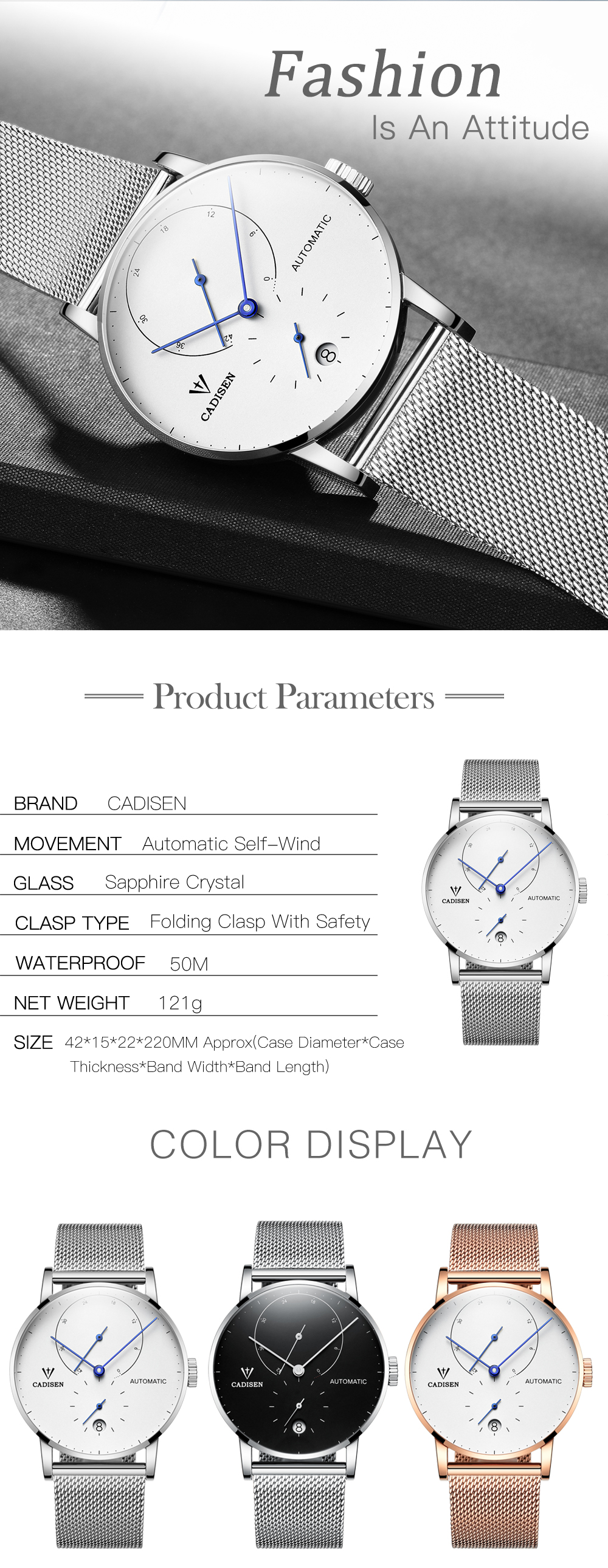 HTB1FhiWvNuTBuNkHFNRq6A9qpXar CADISEN Top Mens Watches Top Brand Luxury Automatic Mechanical Watch Men Full Steel Business Waterproof Fashion Sport Watches