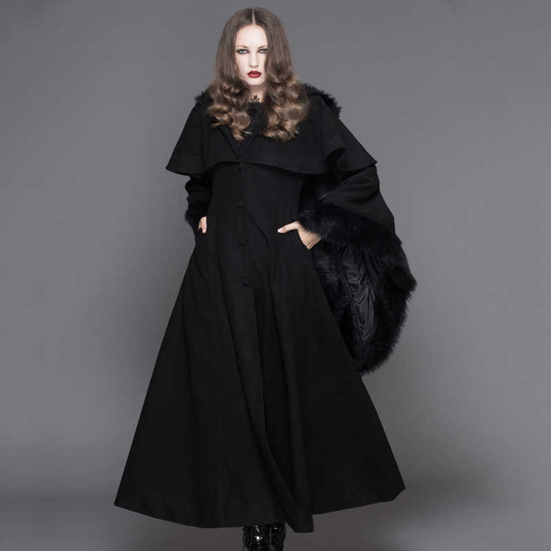 b73ac464976 Devil Fashion Punk Winter Fleece Hooded Cape Overcoats Gothic Black Red  Women Flocking Trench Coats with