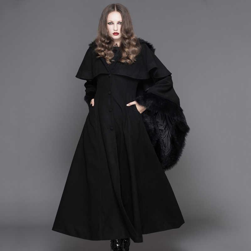432bf95c Devil Fashion Punk Winter Fleece Hooded Cape Overcoats Gothic Black ...