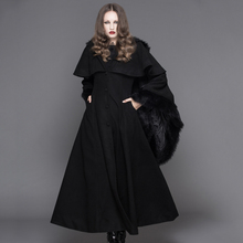 Devil Fashion Punk Winter Fleece Hooded Cape Overcoats Gothic Black Red Women Flocking Trench Coats with Fur Hat and Cuffs