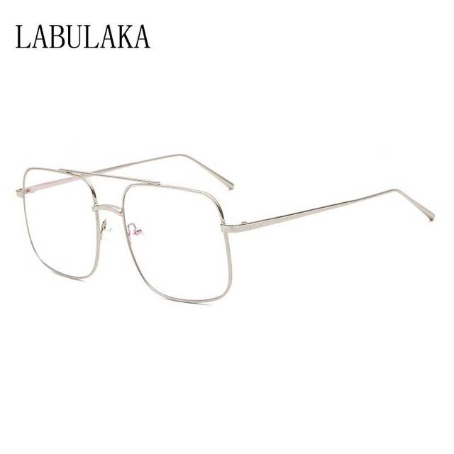 5b2675e9e09 Transparent Sunglasses Men Oversized Sun glasses Women Clear Lens  Eyeglasses Double Bridge Glasses Vintage Alloy Frame
