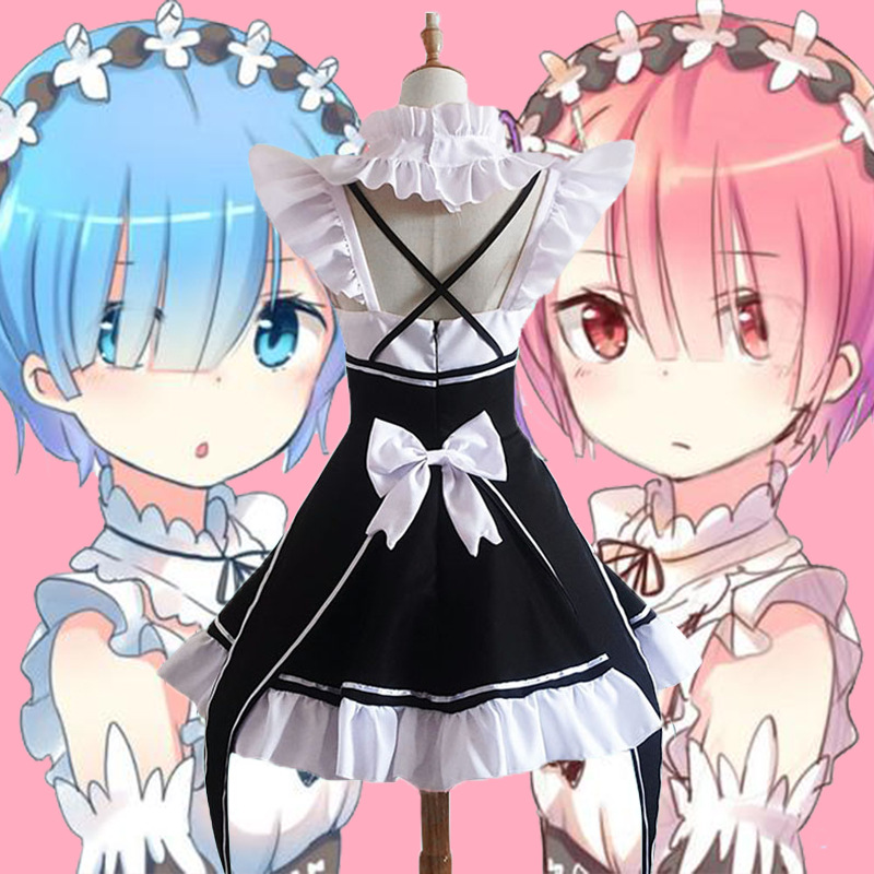 Anime Cosplay Costume Re:Zero Kara Hajimeru Isekai Seikatsu Life In A Different World Ram Rem Costume Maid Servant Cos Clothing