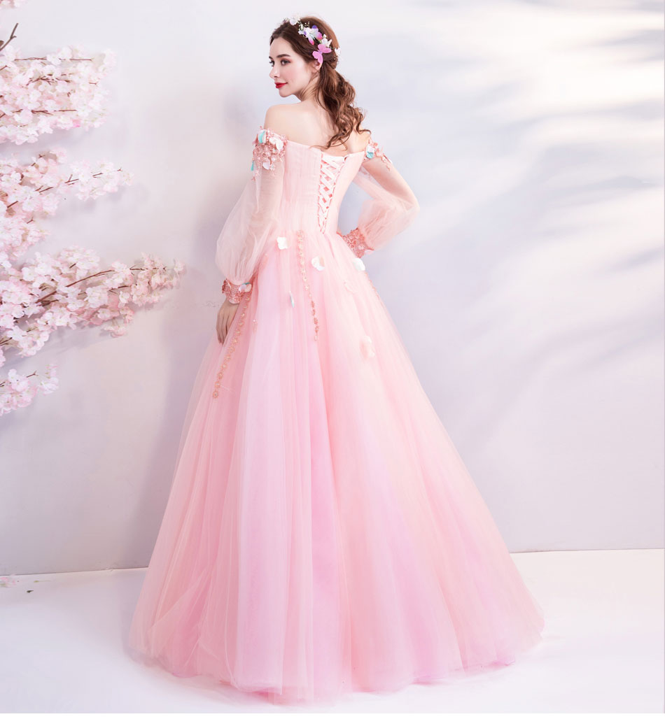 Pink Prom Dresses 2018 Lace Appliques Crystal Tulle Long Sleeves Boat Neckline A line Evening Gowns Vestidos Longos De Formatura in Prom Dresses from Weddings Events