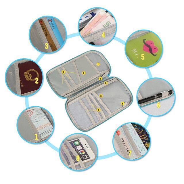 Multi Functional Travel Passport Package Credit ID Card Cash Wallet Multicolor Holder Case Storage Bag Purse Documents Zipper