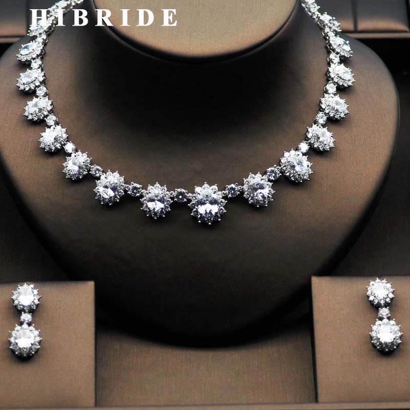 HIBRIDE Clear And Green Crystal CZ Bridal Jewelry Sets White Gold-Color Necklace Earring Set parure bijoux femme N-281 emmaya luxury freshwater pearl bridal jewelry sets silver color earring necklace set wedding jewelry parure bijoux femme