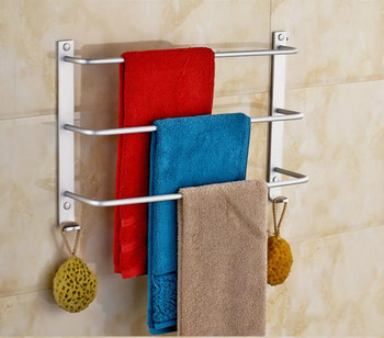 Three-Layer Towel Bar Brief Space Aluminium Bathroom Towel Rack Wall Mounted Towel Shelf Holder For Bathroom Accessories two layer bathroom rack space aluminum towel washing shower basket bar shelf bathroom accessories shampoo holder 7842