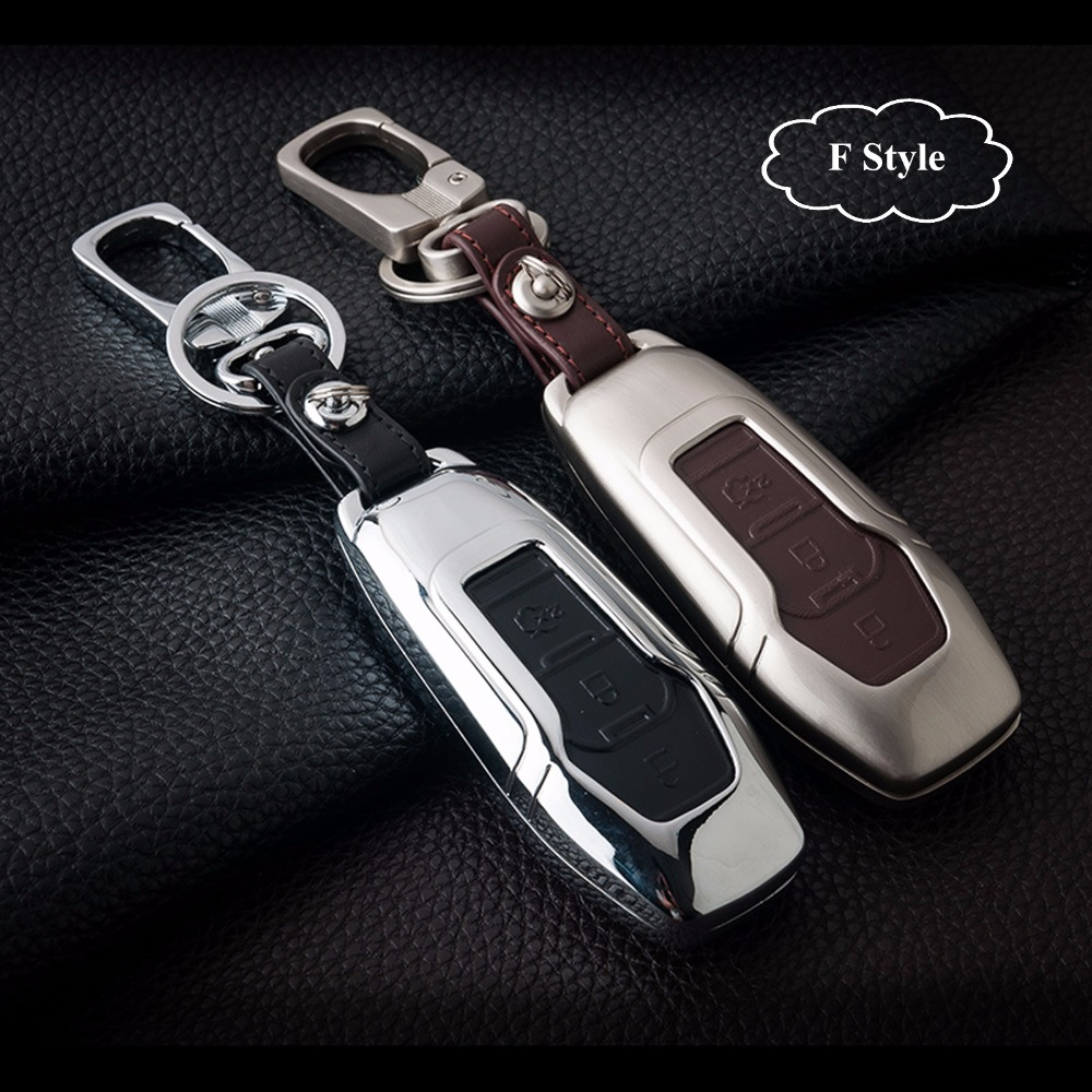 Zinc Alloy + Leather Car Key Smart Remote Key Case Cover for Ford Fiesta Focus 3 4 MK3 MK4 Mondeo Ecosport Kuga Focus ST
