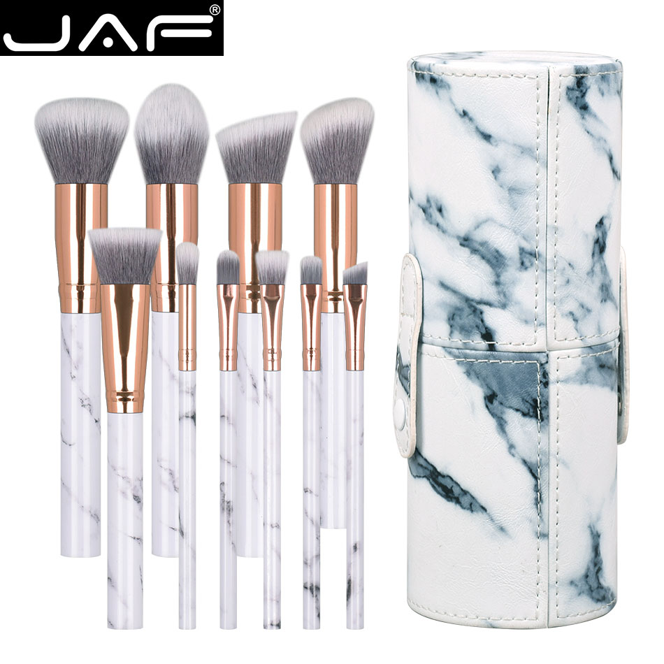 JAF 10pcs/set Marble Makeup Brush with Holder Rose Gold Make Up Brushes with Holder Synthetic Makeup Brushes Case J1024-D makeup brushes