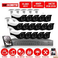 Kit POE 16ch 5MP H.265 sistema de seguridad CCTV hasta 16ch NVR soporte 16ch 4k cámara IP impermeable al aire libre