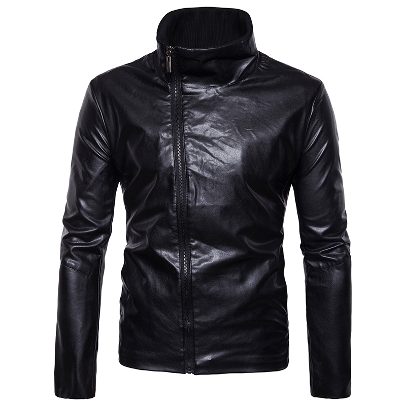 New Arrivals men's casual motorcycle Leather top brand winter Urban England style Diagonal zipper male leather jacket size M-4XL