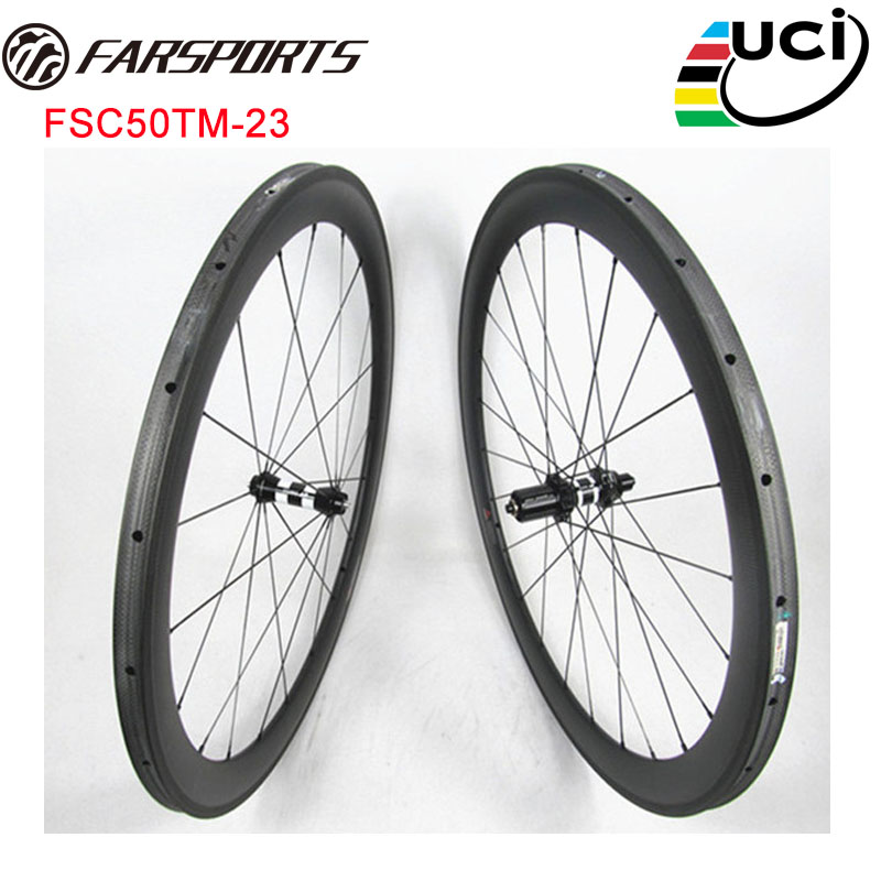 DT 350S HUBS road wheels with Sapim cx ray spokes , Farsports 50mm x 23mm width carbon road wheels tubular , light weight 1331g