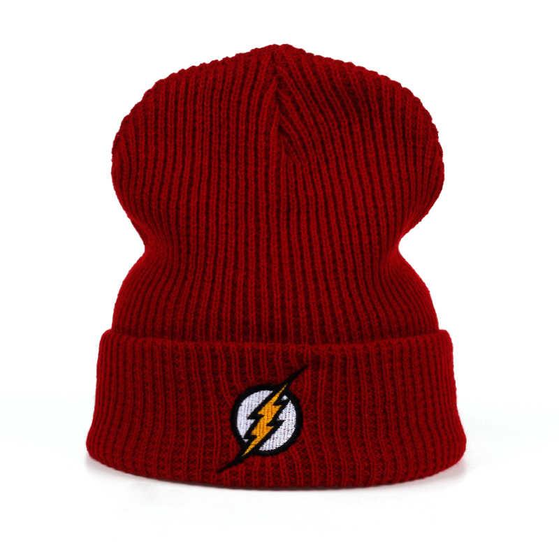 f812edb75b6 Winter Hat Beanies Skullies Knitted Hat Flash Hero Barry Allen Embroid Knitting  Winter Hat Warm Hip