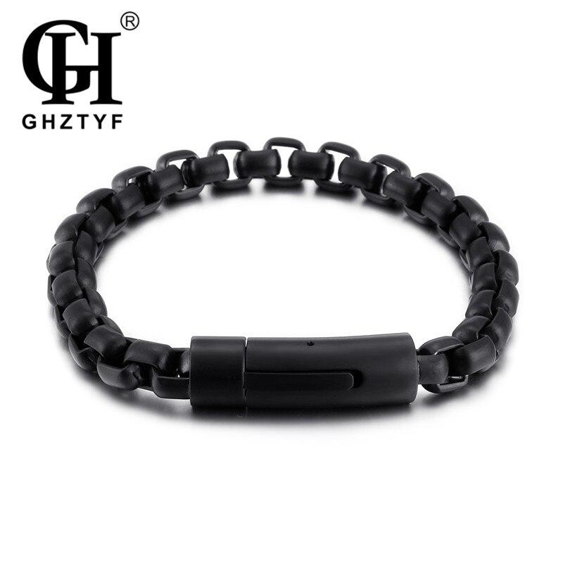 GHZTYF Men's Simple Classic Stainless Steel Chain Bracelet Men's Punk Link Bracelet Bangles Gifts Pulsera Hombre