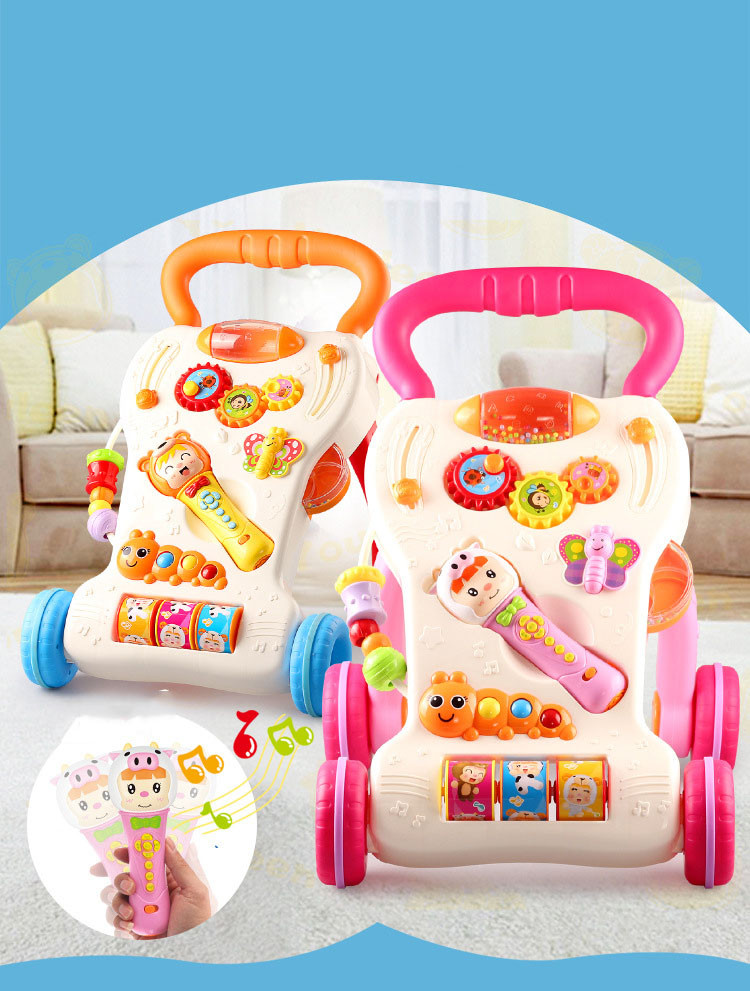 Multifunctional Baby Walker With Music & Lignt Baby Learning to Stand Trolley Adjustable Infant Musical Instrument Education Toy (10)