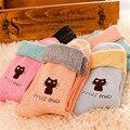 5 pares recém projeto bonito dos desenhos animados cat meias meias mulheres algodão de lã grossa inverno quente w22