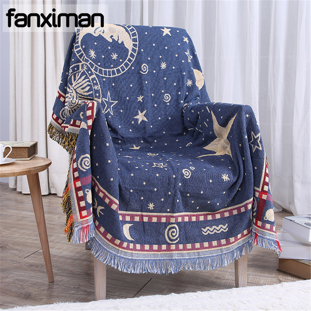 Fanximan Cotton Chenille Blanket Moon Star Double sided Three layer Thickening Sofa Towel Decorative Bedding Throws