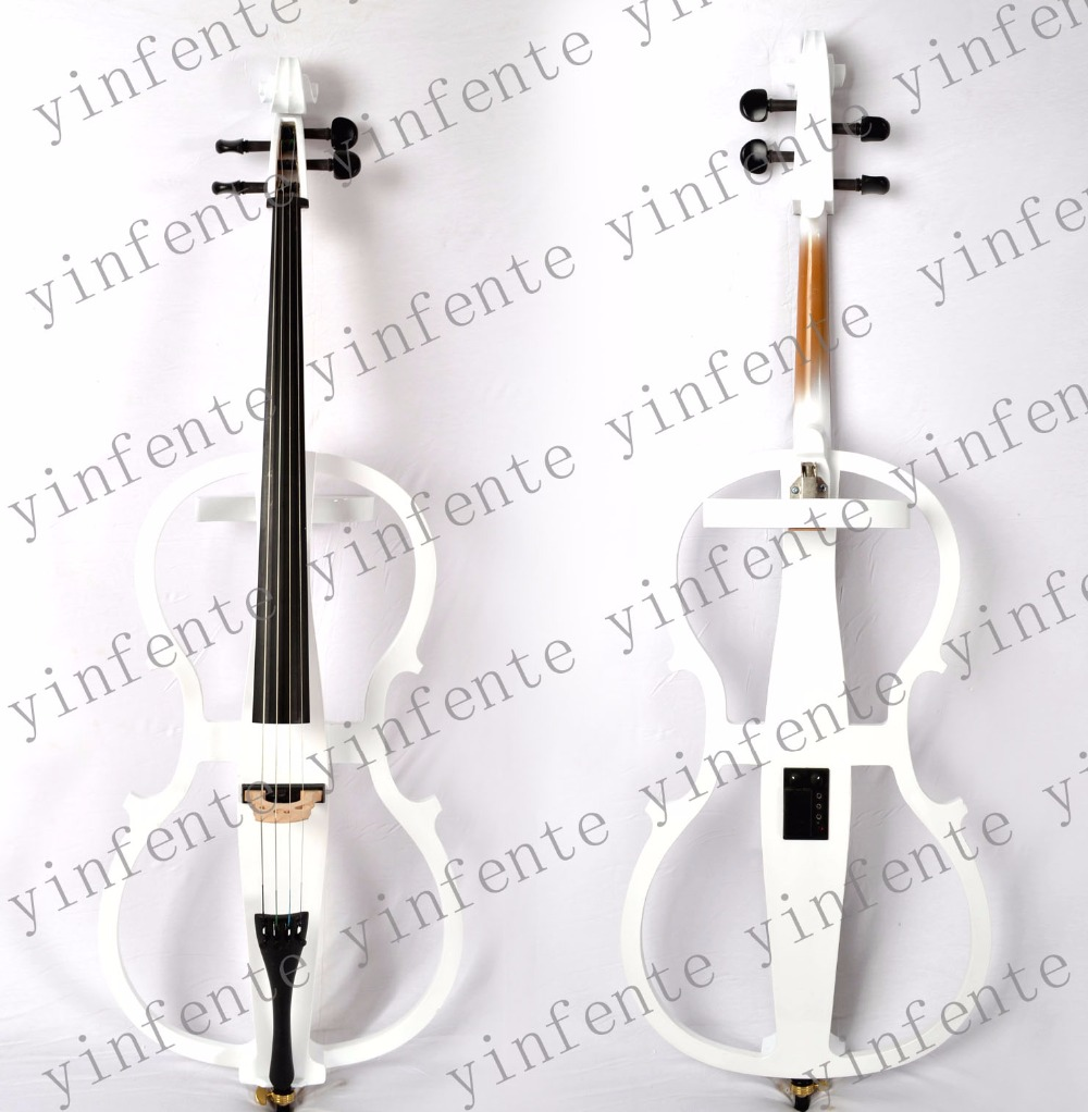 white Electric Cello 4/4 Solid wood Wonderful Sound Black Color Yinfente Brand 4 4 electric violin solid wood 9 28 black color 4string