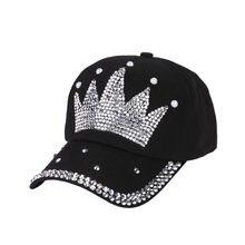 Women new fashion baseball cap hats handmade rhinestone beads Hat Pearl  Crown Female Baseball Cap Snapback Sports Sun Hat 43f42fbdfbd0