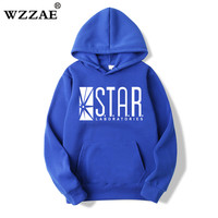 For STAR Labs Black Men S Hooded Hoodies Men Sweatshirt Jumper The Flash Gotham City Comic