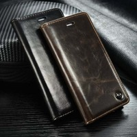 High Quality Luxury Original Brand Genuine Leather Magnetic Auto Flip Card Holder Case For Iphone 5
