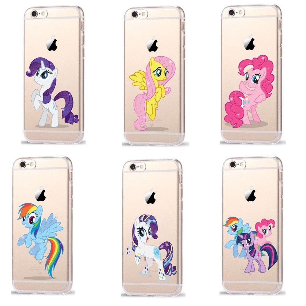 Мультфильм My Little Pony силиконовый прозрачный чехол для iPhone 7 8 6 6 S Plus X 5 5S se случае Coque Радуга Бегемот Fundas ...