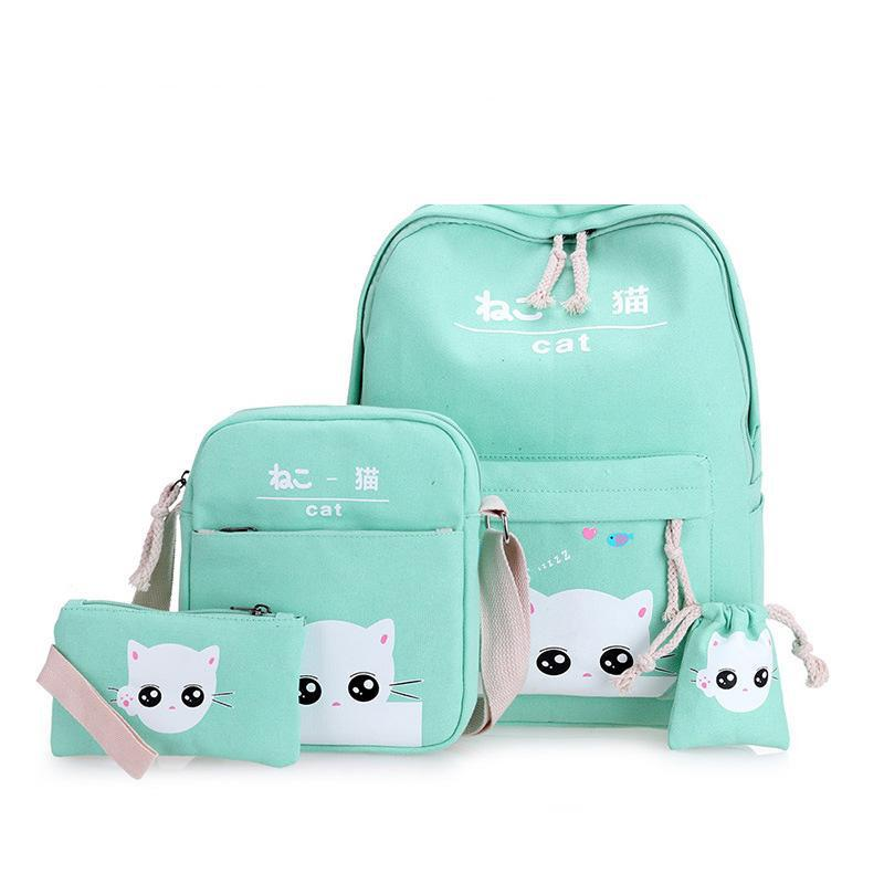 Cat Backpacks For Adolescent Teenage Girl School Bags Student Drawing Lovely Canvas Printing Cute Set Pencil Case Bagpack Travel adolescent