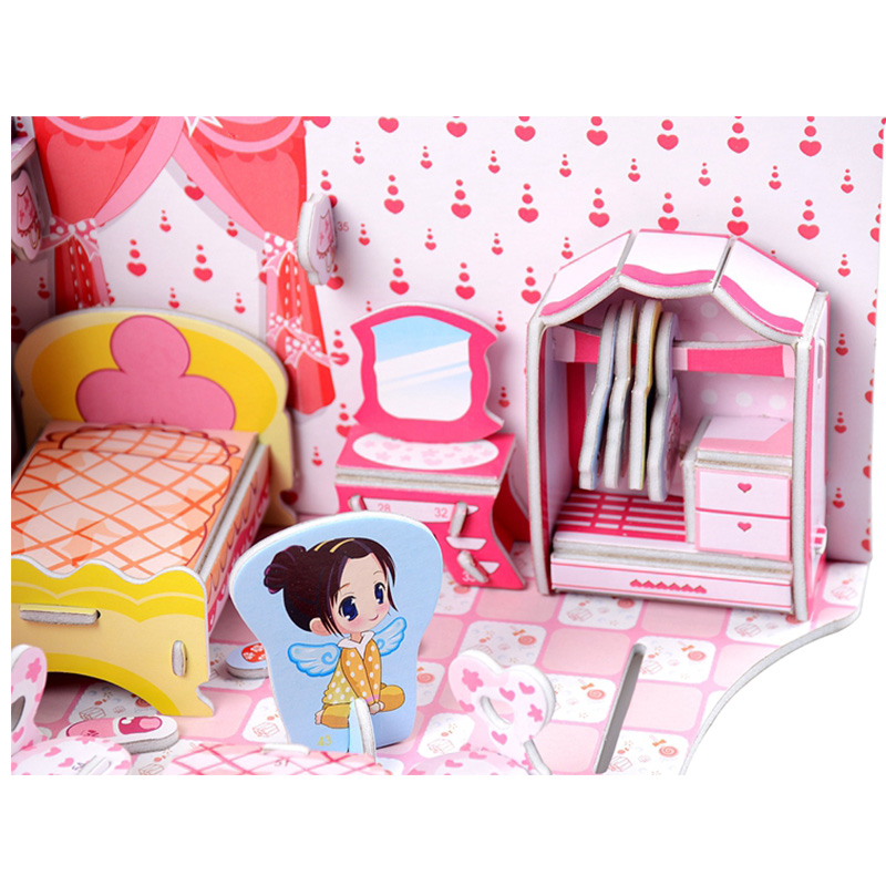 3D DIY Bedroom Doll House Paper Puzzle Toys Pink Sweet