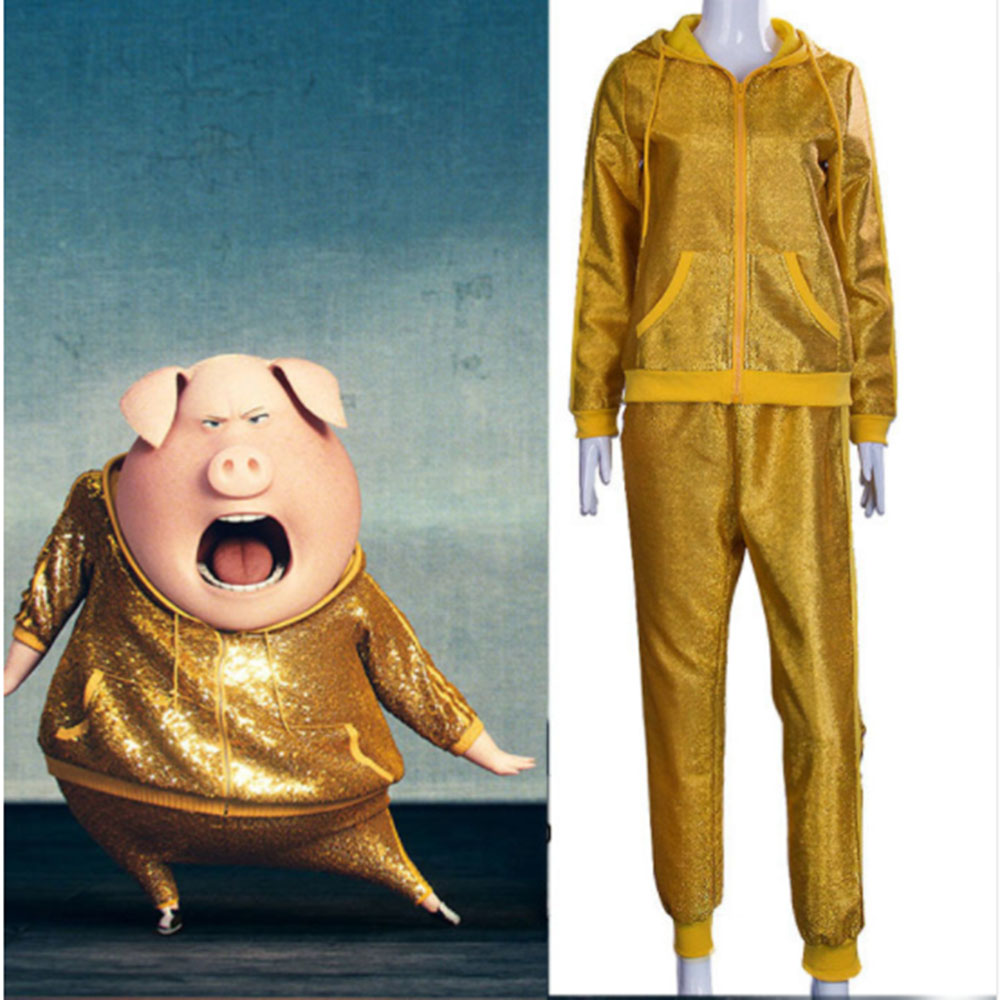 Cosplay Sing Golden Pig Bob Costume Man Hoodie Suits Performance Wear Costumes Fancy Dress Halloween Uniform