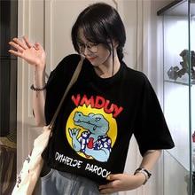 M big crocodile print top summer round neck short-sleeved casual shirt womens cartoon T-shirt