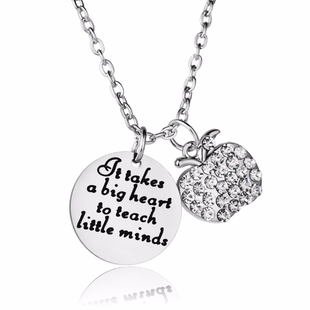 12PC/Lot Crystal Apple Charm Teachers Necklaces Gift It Takes A Big Heart To Teach Little Minds Stainless Steel Pendant Necklace