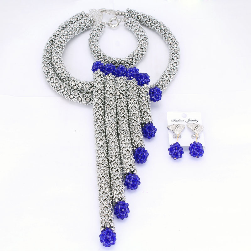 Sparking Dubai Jewelry Sets Silver African Jewelry Set Nigerian Wedding Beads Set 2018 Earrings and Necklace