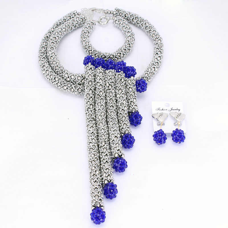 Sparking Dubai Jewelry Sets Silver African Jewelry Set Nigerian Wedding Beads Set 2018 Earrings and Necklace Bracelet Free Ship