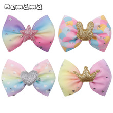 ncmama Rainbow Hair Accessories Barrettes Bows for Girls 4pc/lot Alligator Clips Kids 4 Glitter Princess Bunny Hairgrips