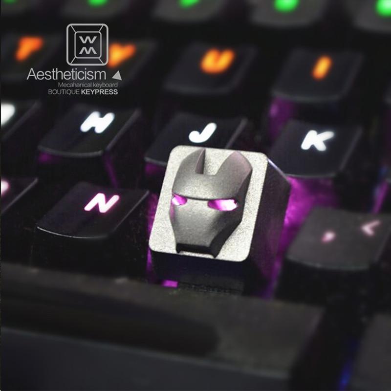 R4 Backlight Titanium Alloy Metal Keycaps Iron Man Keycaps for Mechanical Keyboard