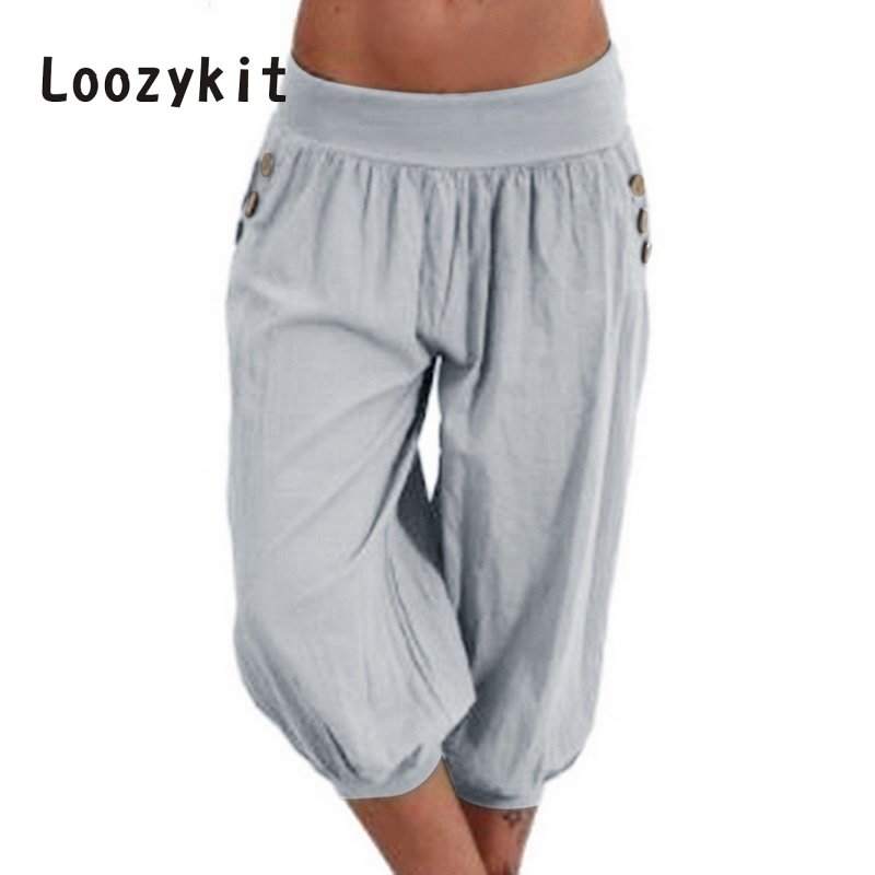 LOOZYKIT 2019 Women 5XL Plus Size Loose   Pants   Casual Elastic Waist Harem   Pants     Capris   Female Retro Baggy Trousers Pantalones
