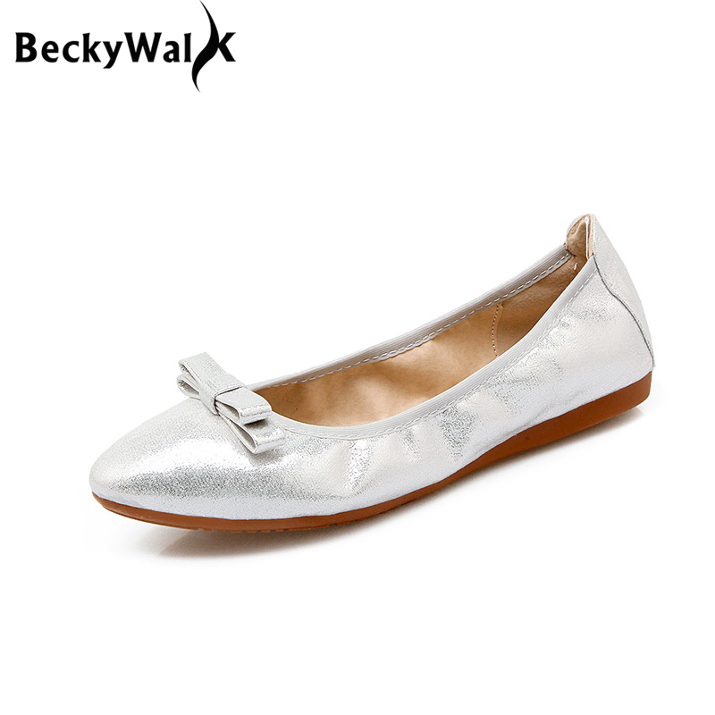 9955d6b2e New Women Ballet Flats Genuine Leather neri Loafers Bling Silver Round Toe  Glossy Women Flats Shoes Ballerina Flat ...