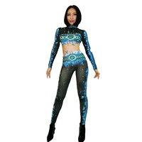 Printed Big Stretch Jumpsuit Sparkly Rhinestones Bodysuit Stage Wear Women's Celebrate Jazz Dance Costume Outfit DJ259