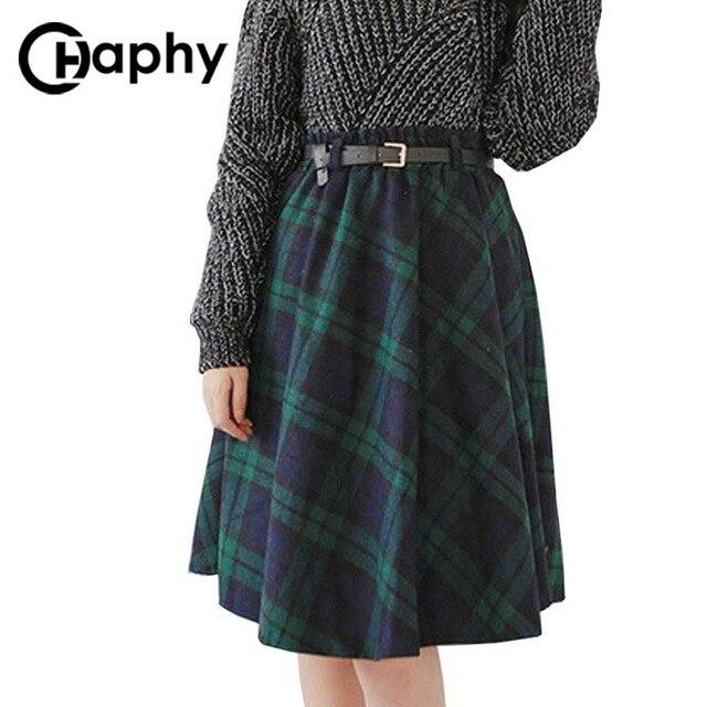 Клетчатая юбка Для женщин длинные линии юбки британский стиль шерстяные клетчатая юбка S килт зимние Винтаж шерсть тартан зонтик клетчатая юбка S
