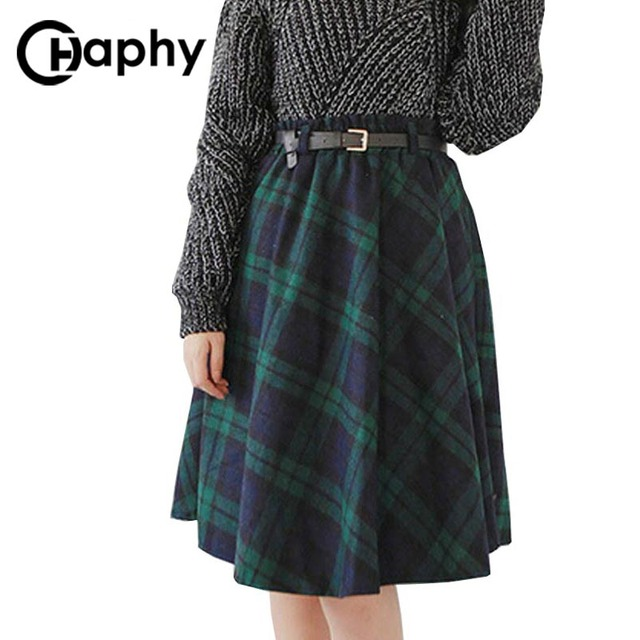 Style Jupe Jupes Femmes Plaid Kilt Longue Laine ligne à Hiver Britannique carreaux A Jupe PSwq0YTx