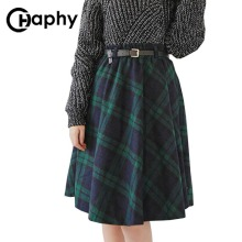 Plaid Skirt Women Long A Line Skirt British Style Woolen Plaid Skirts Kilt Winter Vintage Wool