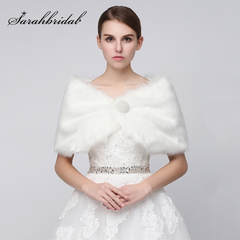 2018 Wedding Jackets Wrap Winter White Faux Fur Bridal Boleros Shrug For Evening Dresses Cheap Wedding Fur Coat Mariage 17004