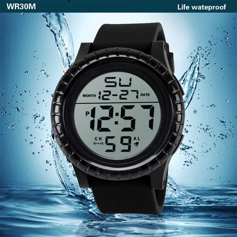 Men Sports Watches 50M Waterproof Back Light LED Digital Watch Chronograph Shock Double Time Wristwatches For Gift #4M30#F
