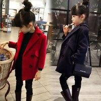 한국어 슬림 여자 울 겨울 코트 더블 브레스트 어린이 트렌치 재킷 로파 드 Ninas 소녀 코트 착실히 보내다 TZ43
