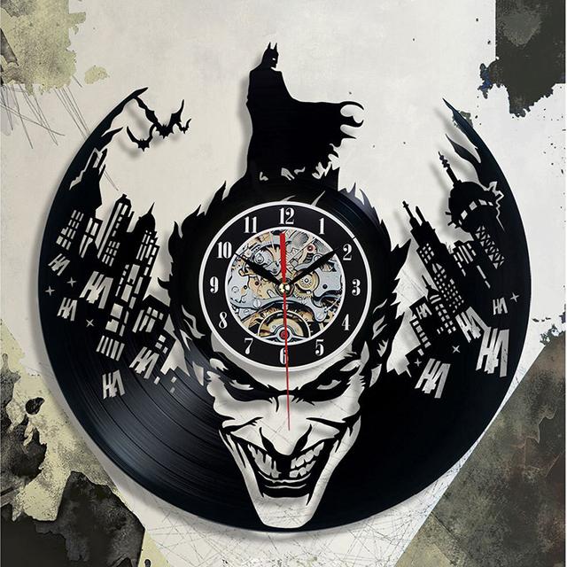 Super Cool Hot Vinyl Record Concept Wall Clock Batman Theme CD Vinyl Clocks  Horloge Murale Decorative Modern design