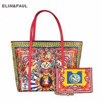 Горячие Элитный бренд мода печатных оптом кожаная сумка Для женщин сумка шоппер Этническая Стиль сумочка кошелек леди плечо Курьерские Сум