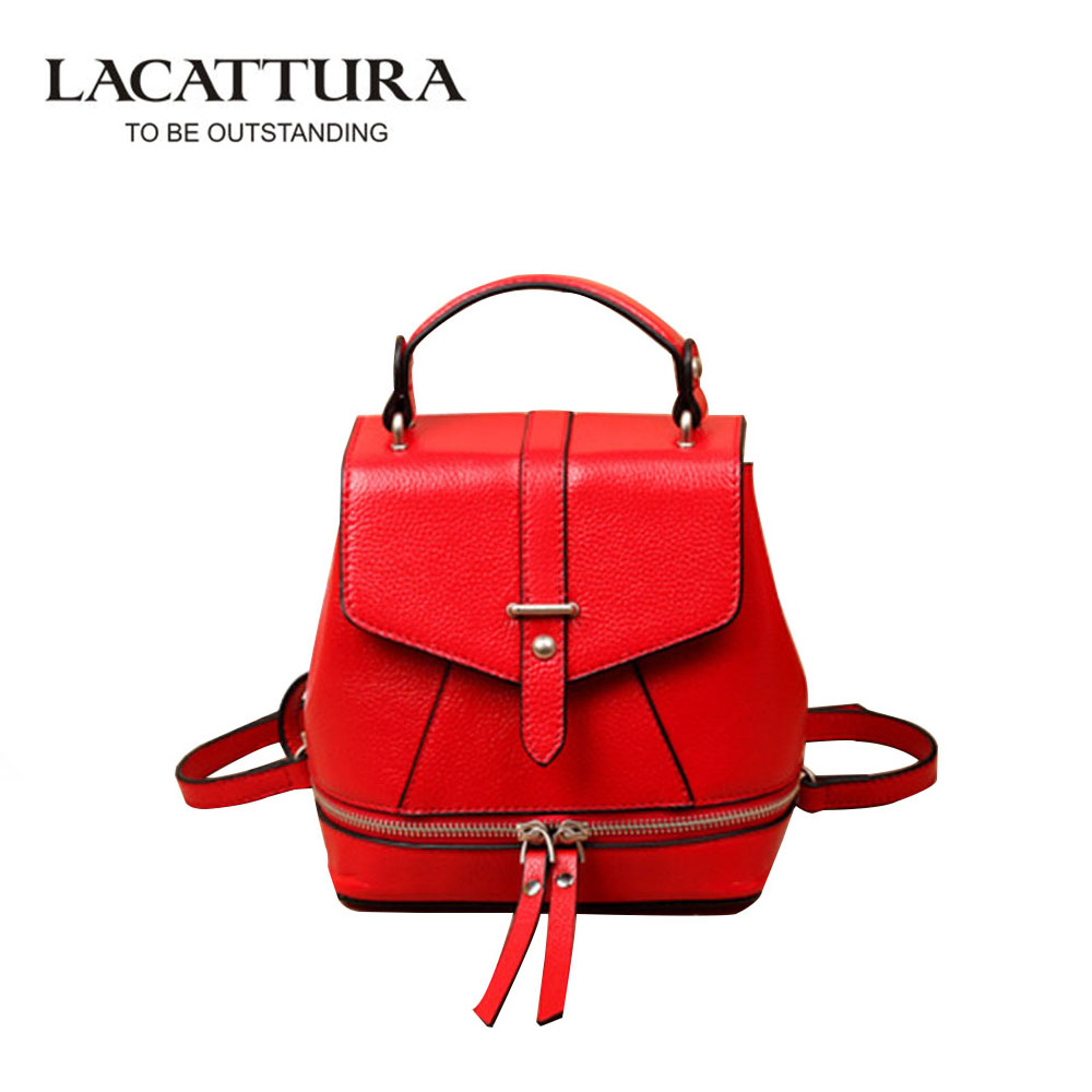 LACATTURA Genuine Leather Backpack School Casual College Student Bag Backpack Shoulder Bag for Girl Female Backpack sac a dos 2017 fashion women waterproof oxford backpack famous designers brand shoulder bag leisure backpack for girl and college student