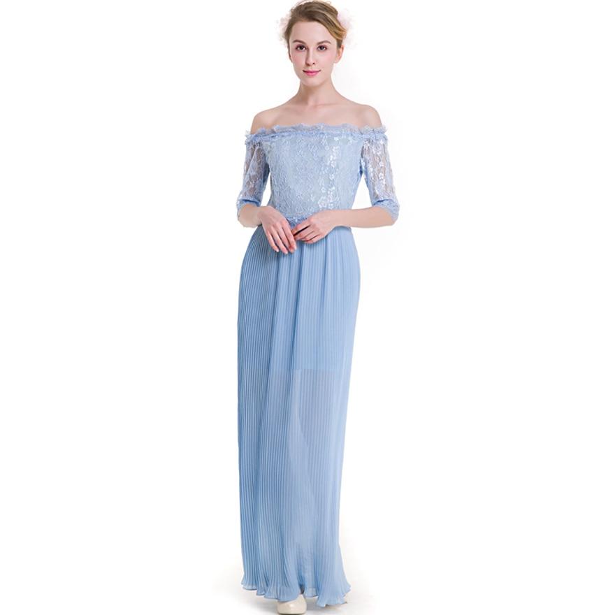 New design long maxi dress off shoulder slash neck half sleeve big swing lace patchwork chiffon dresses elegant plus size