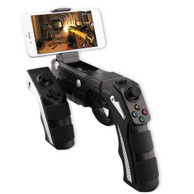 цена iPega PG-9057 PG 9057 Wireless Bluetooth Game Controller Gun Design Style Joysticker Game Pad Handset for iOS Xiaomi Smartphon